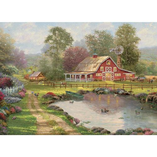 Red Barn Retreat 1000 Piece Jigsaw Puzzle