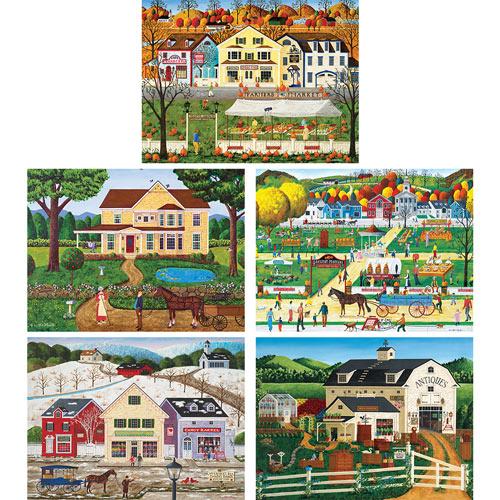 Set of 5: Art Poulin 550 Piece Jigsaw Puzzles