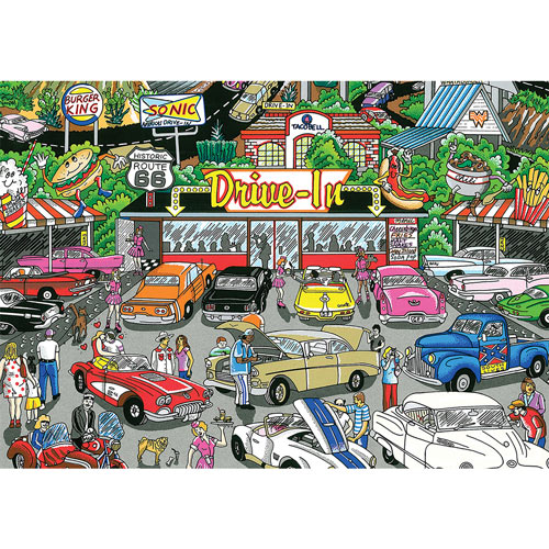 Get Your Kicks on Route 66 Drive In 300 Large Piece Jigsaw Puzzle