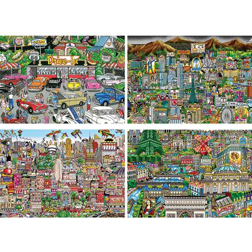 Set of 4: Charles Fazzino 300 Large Piece Jigsaw Puzzles