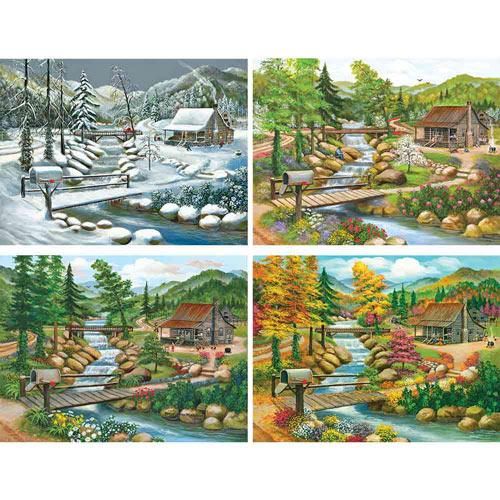 Set of 4: Peggy Myrick Knight Seasonal Cabin 300 Large Piece Jigsaw Puzzle