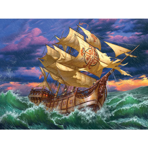 Ship In Storm 500 Piece Jigsaw Puzzle