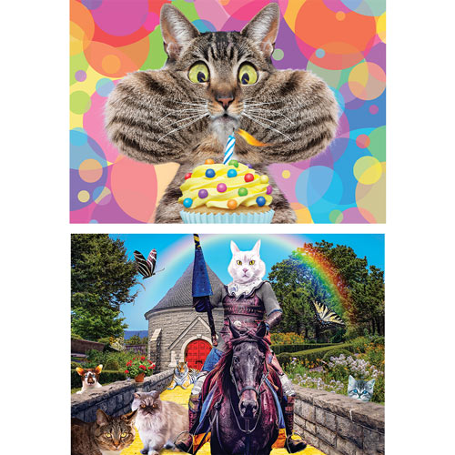 Set of 2: Silly Cat 300 Large Piece Jigsaw Puzzles