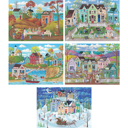Set of 5: Kim Leo 300 Large Piece Jigsaw Puzzles