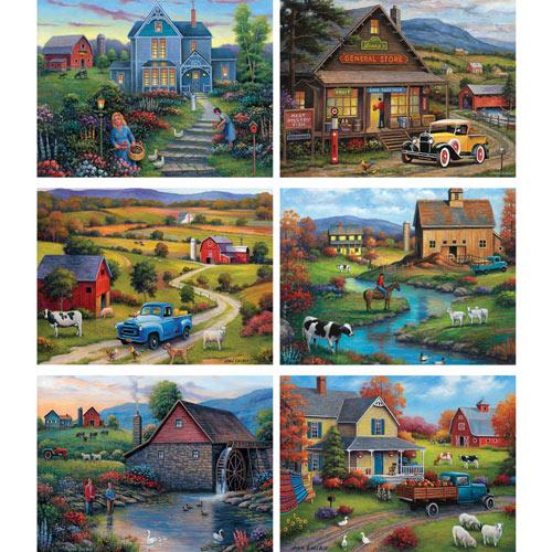 Set of 6: John Zaccheo 1000 Piece Jigsaw Puzzles