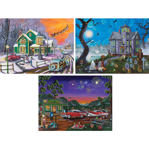 Set of 3: Joshua Ben King 300 Large Piece Jigsaw Puzzles
