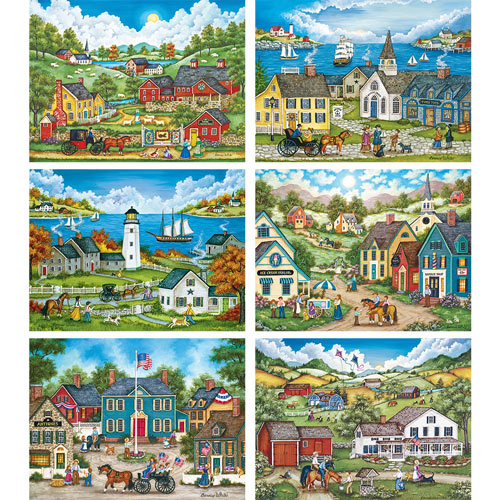 Set of 6: Bonnie White 1000 Piece Jigsaw Puzzles