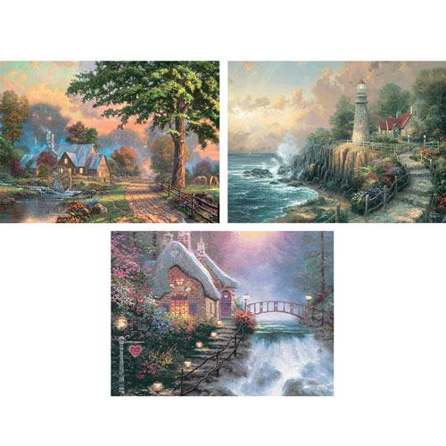 Set of 3: 1000 Piece Kinkade Puzzles