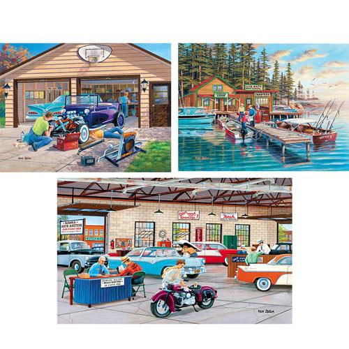 Set of 3: Ken Zylla Nostalgic 300 Large Piece Jigsaw Puzzles