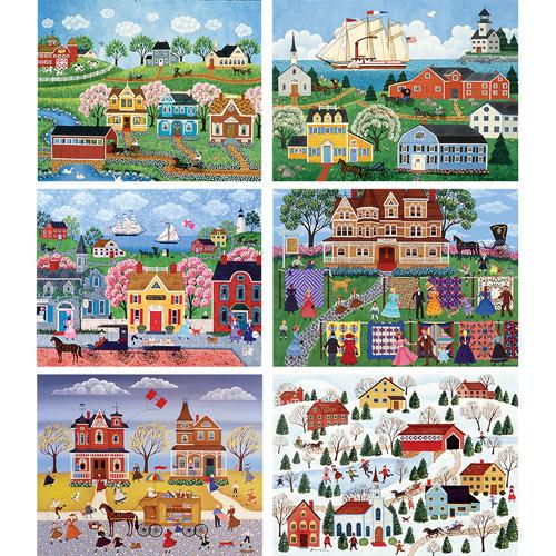 Set of 6: Joanne Case 1000 Piece Primitive Jigsaw Puzzle