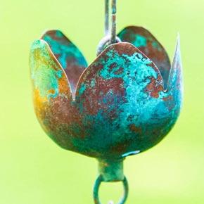 Verdigris Tulip Rain Chain