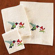 Hummingbird Embroidered Bath Towel Set