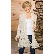 Crocheted Fringe Shawl Sweater