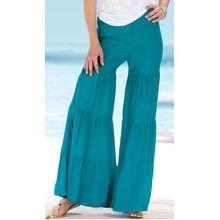 Tiered Cotton Gauze Pants