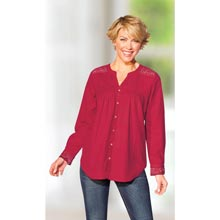 Crocheted Lace Accents Shirt - Red