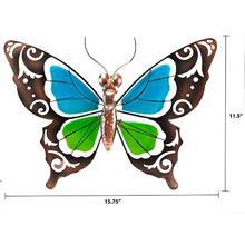 Metal & Glass Butterfly Wall Decor
