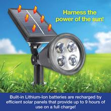 2-In-1 Waterproof 4 LED Solar Spotlight