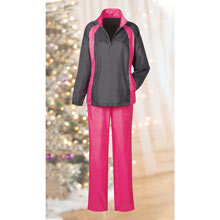 Gray Jacket/Pink Pant Slimming & Sporty Jog Set
