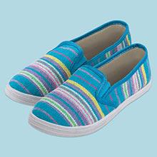 Aqua Striped Loafers