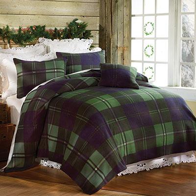 Emerald Plaid Fleece Blankets & Accessories