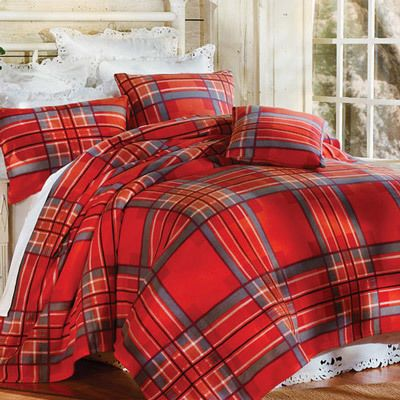 Ruby Plaid Fleece Blankets & Accessories
