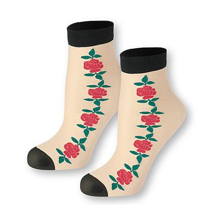 Red Rose Ankle Socks