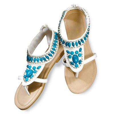 White Faux Turquoise-Studded Sandals