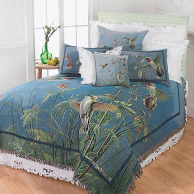 Denim Blue Hummingbird Tapestry - Coverlet