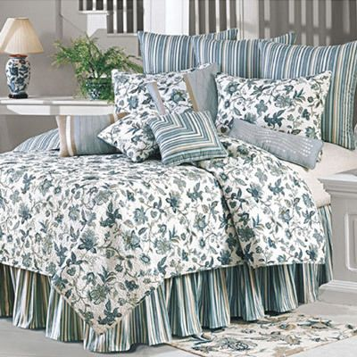 Jacobean Blue Quilted Pillow