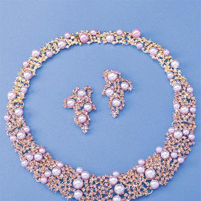 Lavender Faux Pearl Jewelry Set