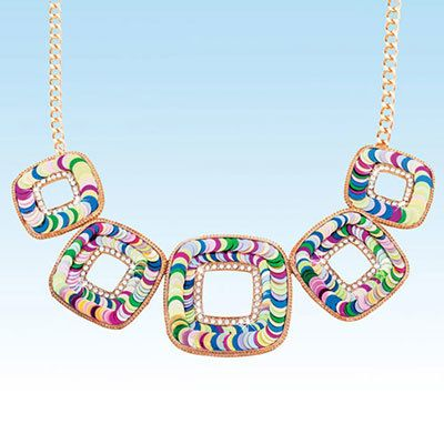Colorful Squares Necklace