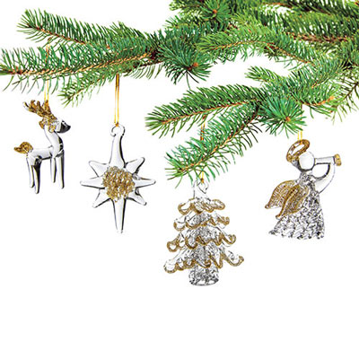 Glass Ornaments S/4-Reindr/Star/Tree/Angel