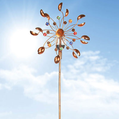 Solar Powered Glass Ball With Kinetic Wind Spinner