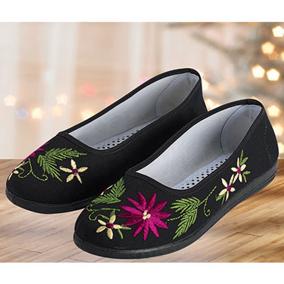 Floral Black Embroidered Shoes