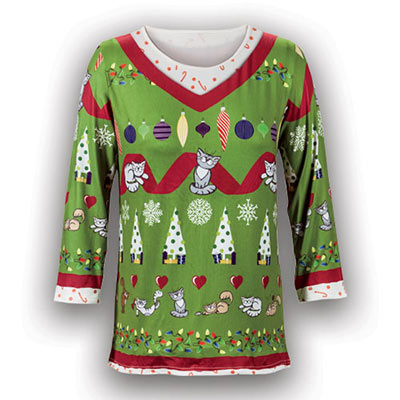 Holiday Cat Sweater Tee