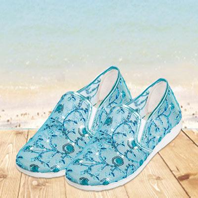 Aqua Sheer Floral Loafers
