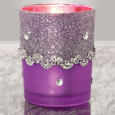 Purple Glitter Votive- S/2