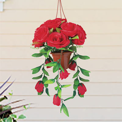 Cascading Red Roses