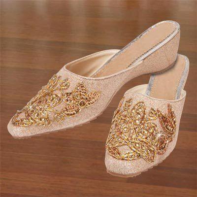 Golden Embroidered Slip-Ons