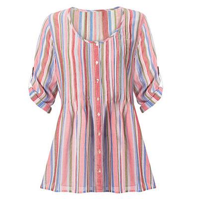 Slenderizing Striped Pintuck Shirt