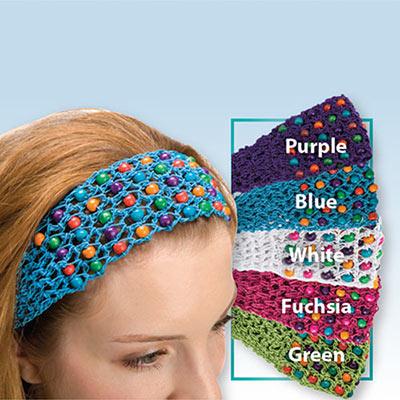 Colorful Crocheted Beaded Headband