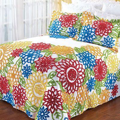 Summer Garden Chenille Bedspread & Accessory