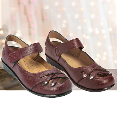 Burgundy Woven Mary Janes