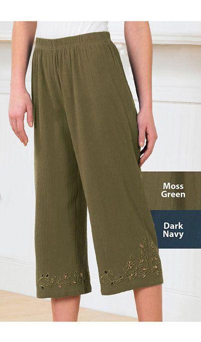 Cutwork Crinkle Cotton Capri Pants