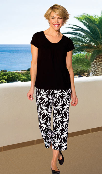Tropical Capri Pant Set - Black