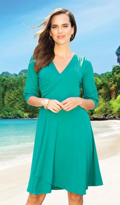 Slimming Petal Dress - Teal