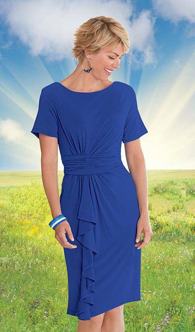 Stylish Cascading Dress - Royal Blue