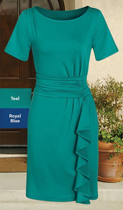 Stylish Cascading Dress - Teal