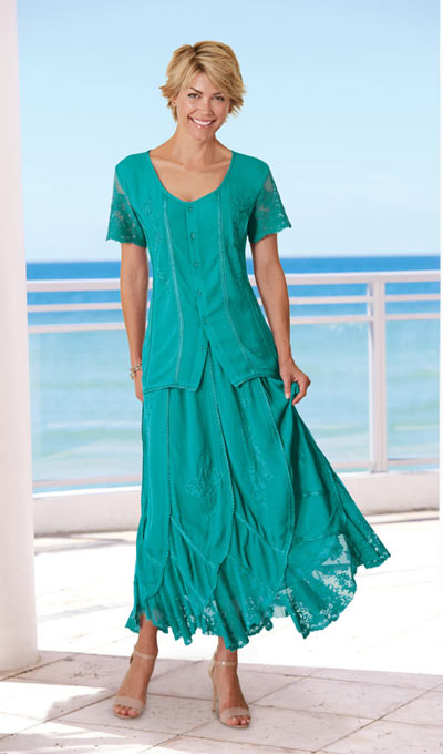 Irresistible Lace Embellished Maxi Skirt  - Teal