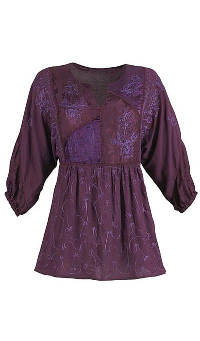 Embroidered Dolman Sleeve Tunic